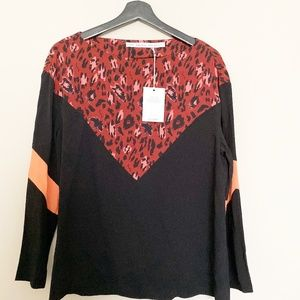NWT & Other Stories Black Animal Print Top